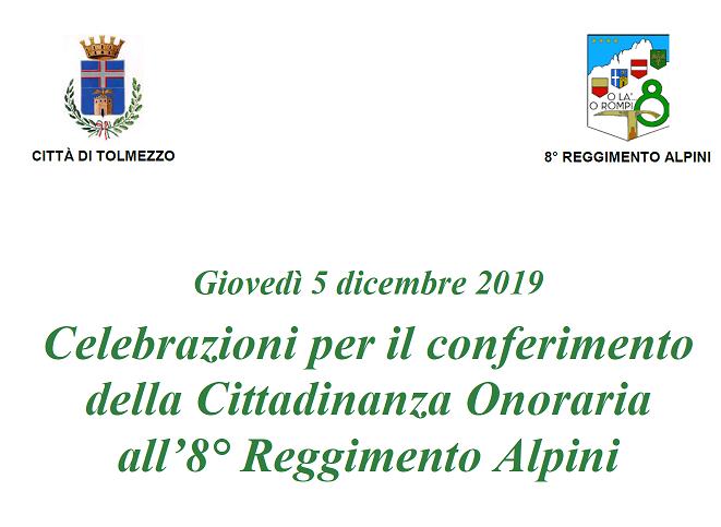 Mostra in occasione del conferimento della Cittadinanza Onoraria all'8^ Reg. Alpini