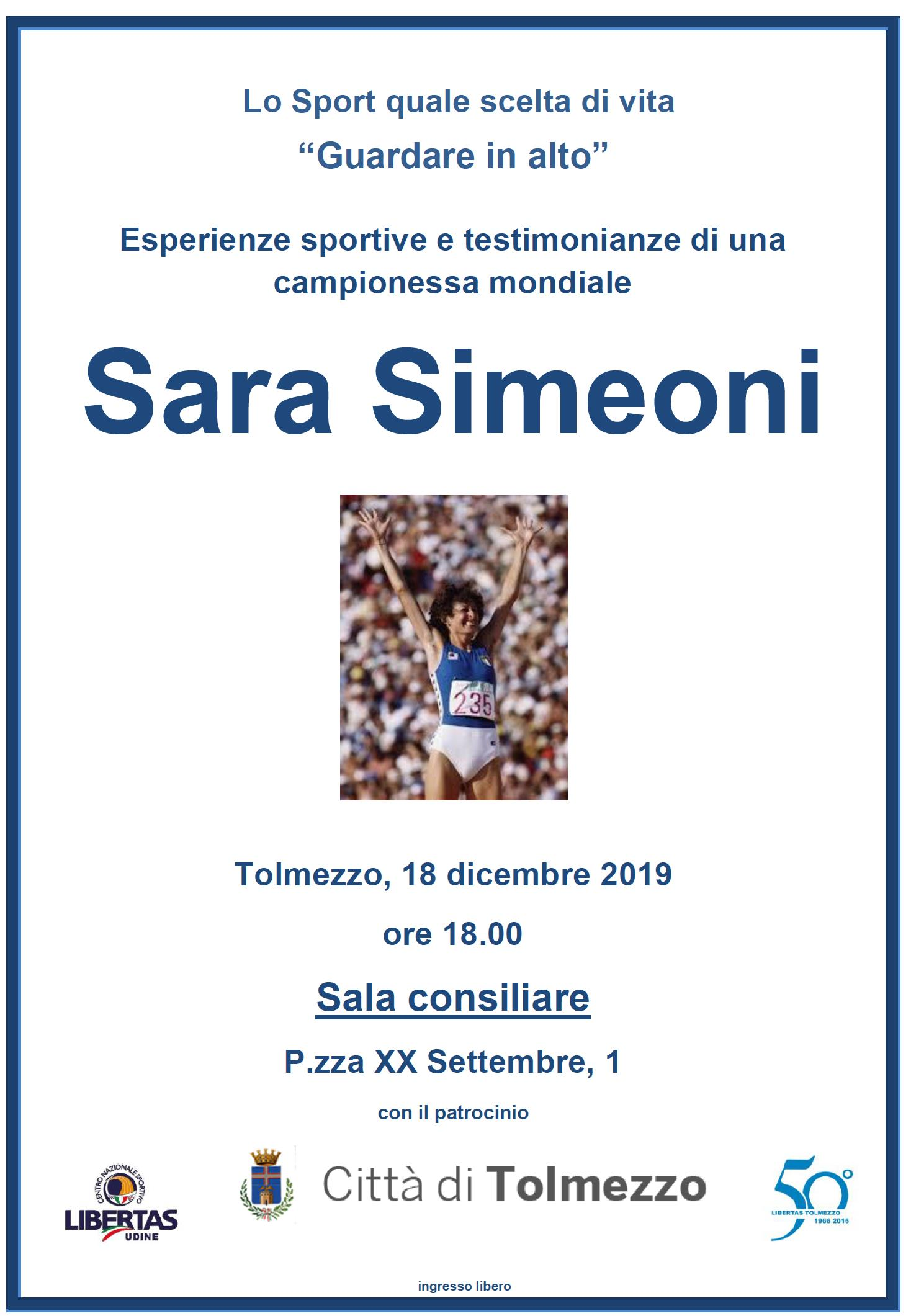 """Lo sport quale scelta di vita: """"Guardare in alto"""" - Sara Simeoni"""