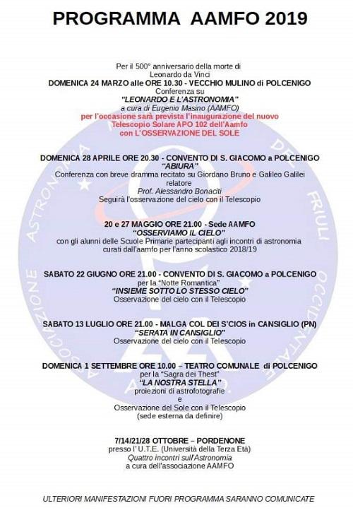 Associazione Astronomia e Meteorologia del Friuli Occidentale 2019