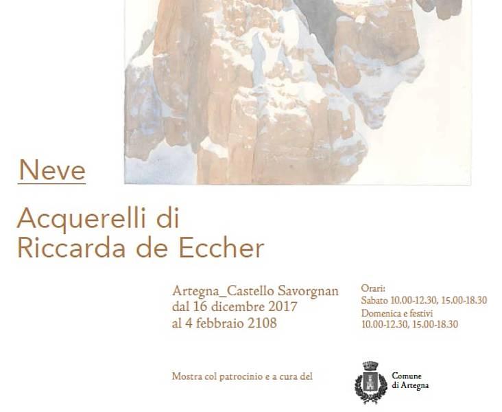 """Castello Savorgnan-Inaugurazione mostra """"neve""""acquerelli di Riccarda De Eccher"""