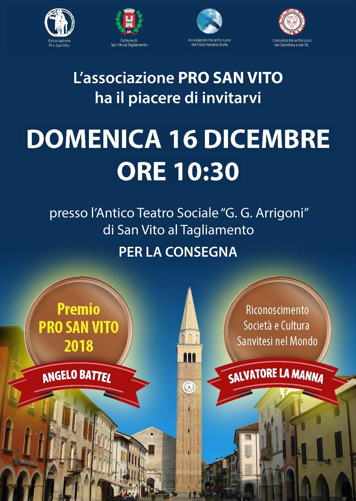 Premio Pro San Vito e Riconoscimento sanvitesi nel mondo