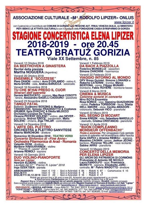 """Concerto della memoria per Elena Lipizer - Stagione Concertistica """"Elena Lipizer"""" 2018-2019"""