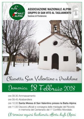 Santa Messa di San Valentino presso la Baita Alpina