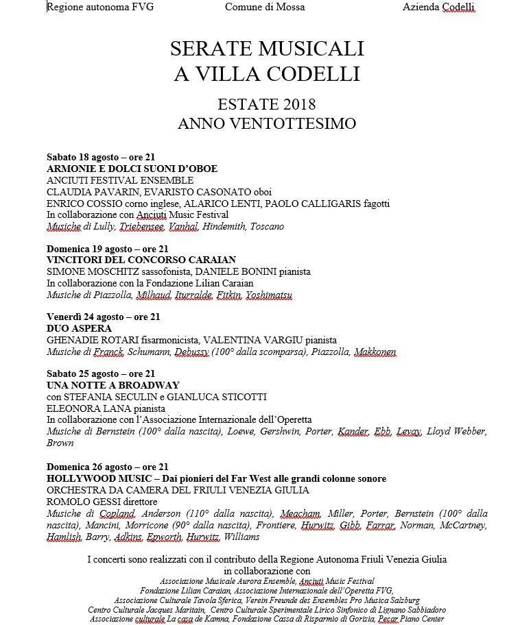 Serate Musicali A Villa Codelli 2018 Anno Ventottesimo